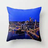 pittsburgh Throw Pillows featuring Pittsburgh Dreamer by ameliajoycelee