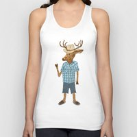 country Tank Tops featuring Country deer by Santiago Uceda