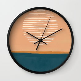Abstract sun over ocean - mid century modern art  Wall Clock