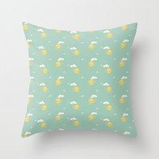 Little Sun green Throw Pillow