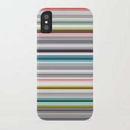 grey and colored stripes iPhone Case