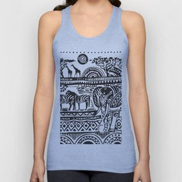 African Tribal Pattern No. 17 Unisex Tank Top