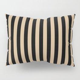 Tan Brown and Black Vertical Stripes Pillow Sham