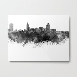 Raleigh skyline in black watercolor Metal Print