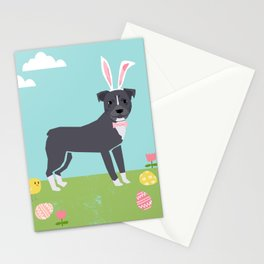 Pitbull easter eggs easter spring dog breed pibble rescue dog portrait Stationery Cards
