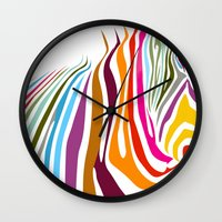 zebra Wall Clocks featuring Zebra by graphicinvasion