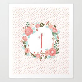 Monogram I - cute girls coral florals flower wreath, coral florals, baby girl, baby blanket Art Print
