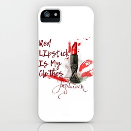 Fashion pattern with red lipstick. Conceptual illustration iPhone Case