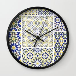 Middle Eastern Tile Patterns in Blue and Yellow Wall Clock