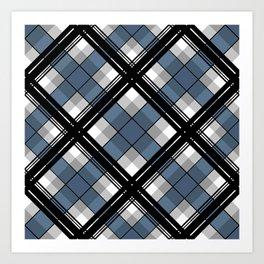 Black and blue tartan Art Print