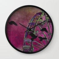 ferris wheel Wall Clocks featuring Ferris-Wheel by The Strange Days Of Gothicrow