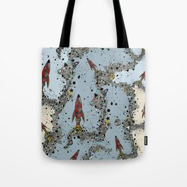 flying rockets in space and planets Tote Bag
