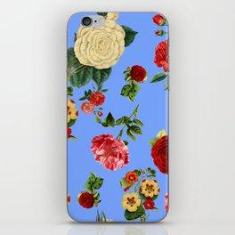 Blue vintage roses iPhone Skin