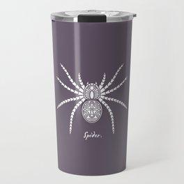 Spider White On A Purple Background Travel Mug