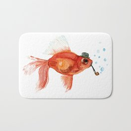 Goldfish with pipe and hat Bath Mat