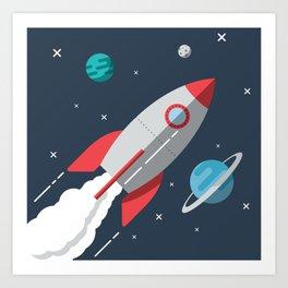 Little Astronaut Rocket Adventure Art Print