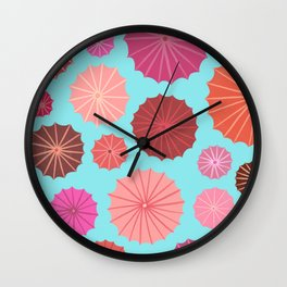 Umbrellas from above Wall Clock