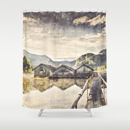 Lake Boat House Water Shower Curtain