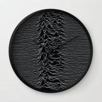 alisa burke Wall Clocks featuring Unknown Radio Waves - Unknown Pleasures by Alisa Galitsyna