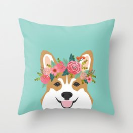 Corgi Portrait - dog with flower crown cute corgi dog art print Throw Pillow