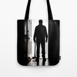 Bad Man at door in silhouette with axe Tote Bag