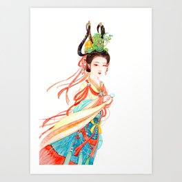 Watercolor Chinese Beauty -  Dunhuang Art Print