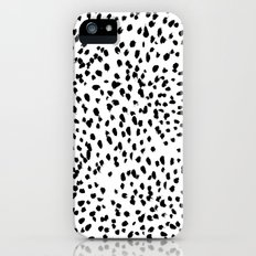 Nadia - Black and White, Animal Print, Dalmatian Spot, Spots, Dots, BW iPhone SE Slim Case