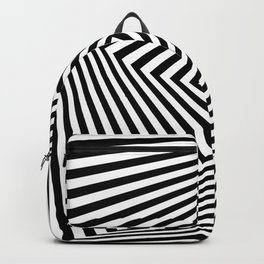 Op art rotating square in black and white Backpack