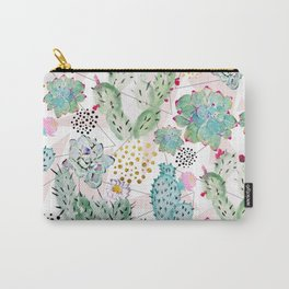 Modern triangles and hand paint cactus pattern Carry-All Pouch