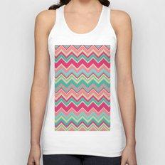 Aztec chevron pattern- pink & cream Unisex Tank Top