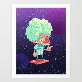 Einstein in Space Art Print
