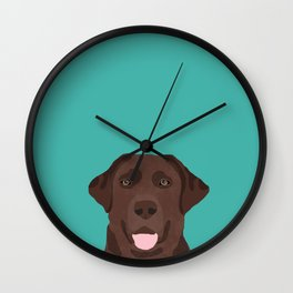 Chocolate Lab peeking dog head labrador retriever must have funny dog breed gifts Wall Clock