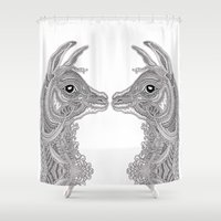 llama Shower Curtains featuring Llama by Olya Goloveshkina