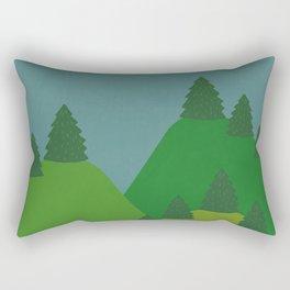 Blue Sky over Green Summer Mountain and Forest Rectangular Pillow