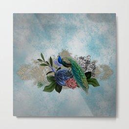 Wonderful peacock with flowers Metal Print