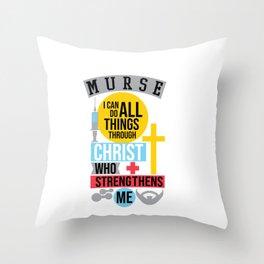Christian Male Nurse Design - Murse Cross Throw Pillow