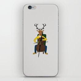 Deer playing cello iPhone Skin