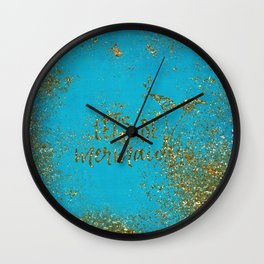 Let's be memaids Gold faux Glitter for Mermaid Girls Wall Clock