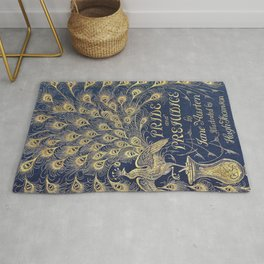 Pride and Prejudice by Jane Austen Vintage Peacock Book Cover Rug