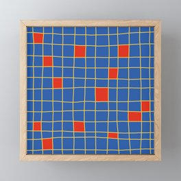 Abstract Red Squares Retro Grid Framed Mini Art Print