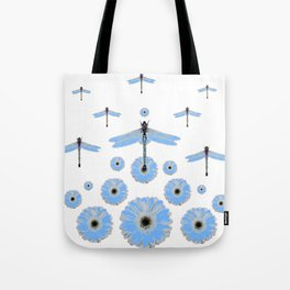 SURREAL WHITE-BLUE DRAGONFLIES FLOWERS ART Tote Bag