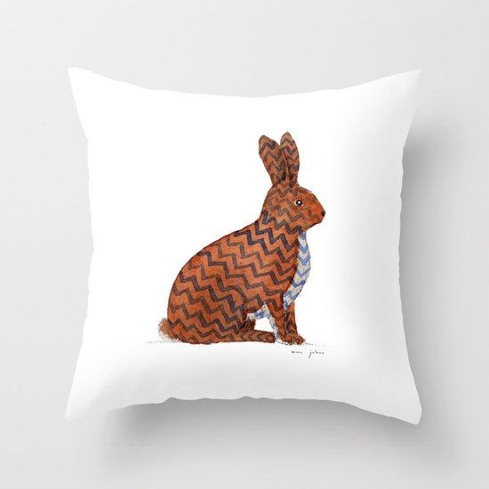 zig zag rabbit Throw Pillow