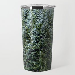 Snow Bank Woodlands // Photograph of the Dense Blue Green Evergreen Pine Tree Forest Travel Mug