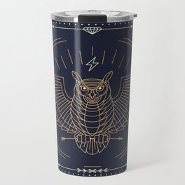 Owl Gold on Black with White Pattern Travel Mug