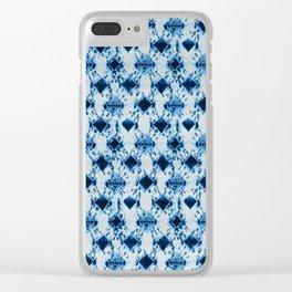 small tie dye diamond in ocean blue Clear iPhone Case