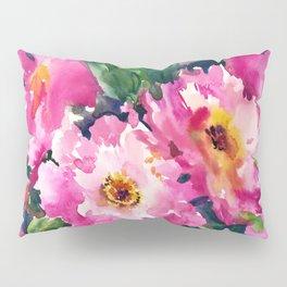 Peonies, garden flowers bright pink green garden floral peony art Pillow Sham