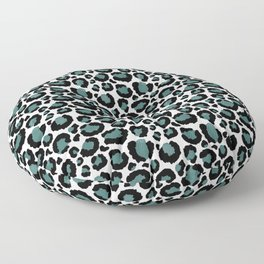 Teal Leopard Animal Print Pattern Floor Pillow