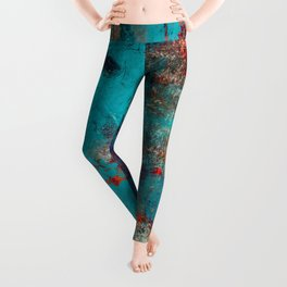 Aztec Turquoise Stone Abstract Texture Design Art Leggings