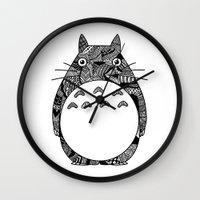 ghibli Wall Clocks featuring Ghibli Zentangle by Riaora Creations
