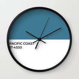 Mediterranean Blue • Pacific Coast •Pantone Swatch • Ocean • Cool Tones • California • Modern Design Wall Clock